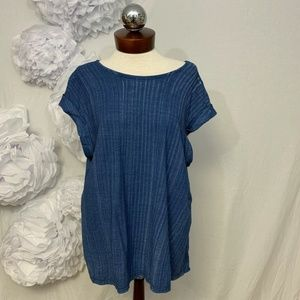 Anthropologie Tops - Anthropologie Cloth & stone navy open back top L